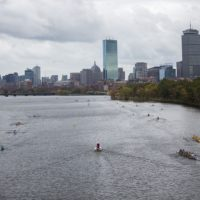 Rowers preparing for the Head of the Charles Regatta. (Jesse Costa/WBUR)