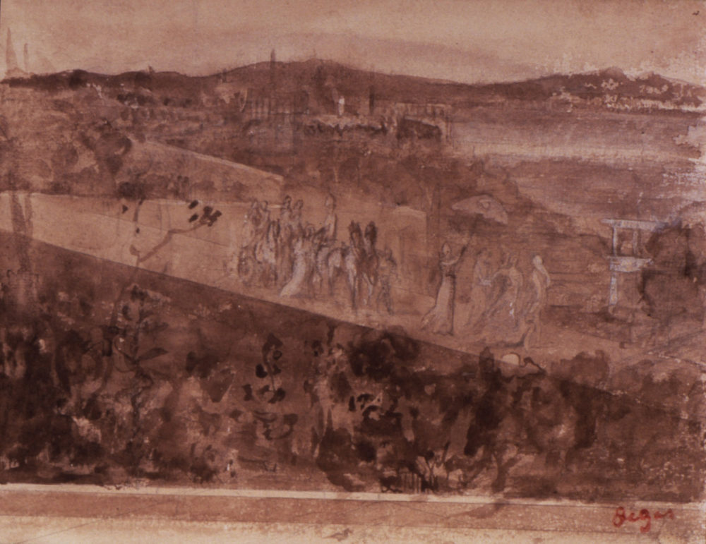 """Edgar Degas' """"Cortège Sur Une Route Aux Environs De Florence,"""" drawn between 1857 and 1860. Pencil and sepia wash on paper, 15.6 x 20.6 cm (6 1/8 x 8 1/8 in.) sheet. (Courtesy Isabella Stewart Gardner Museum)"""