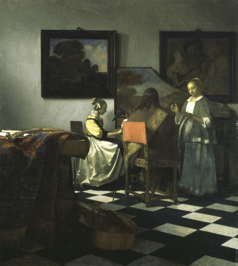 "Johannes Vermeer's ""The Concert,"" painted between 1663-1666. Oil on canvas, 72.5 x 64.7 cm (28 9/16 x 25 1/2 in.) canvas. (Courtesy Isabella Stewart Gardner Museum)"