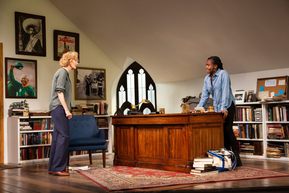 "Lisa Banes as Janine and Jordan Boatman as Zoe in The Huntington Theatre Company's production of Eleanor Burgess' ""The Niceties"" (Courtesy Huntington Theatre Company)"