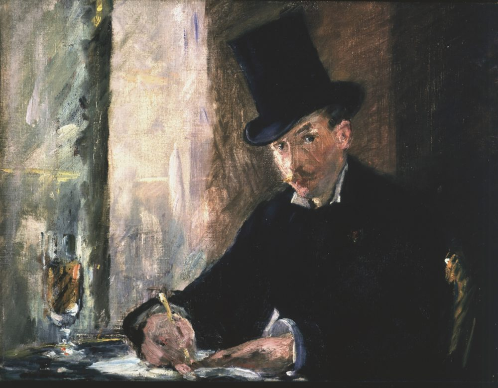 "Édouard Manet's ""Chez Tortoni,"" painted around 1875. Oil on canvas, 26 x 34 cm (10 1/4 x 13 3/8 in.) canvas. (Courtesy Isabella Stewart Gardner Museum)"