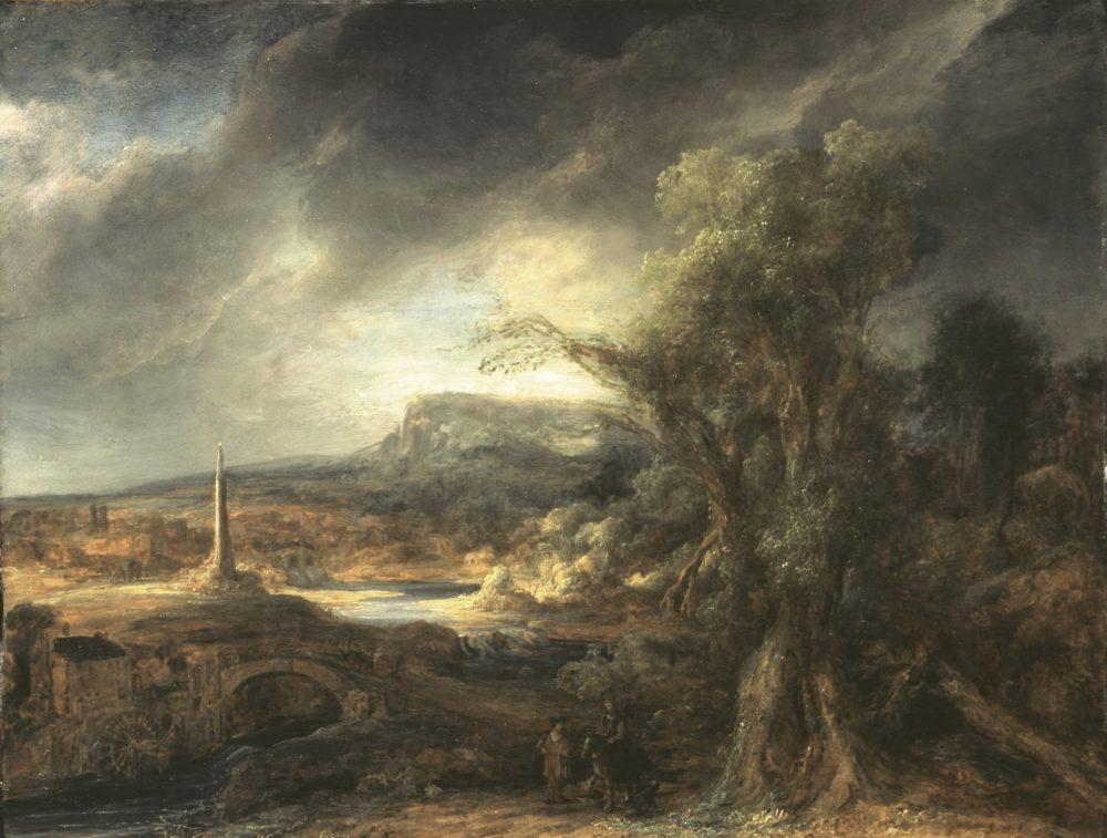 "Govaert Flinck's ""Landscape With An Obelisk,"" painted in 1638. Oil on oak panel, 54.5 x 71 cm (21 7/16 x 27 15/16 in.) panel. (Courtesy Isabella Stewart Gardner Museum)"