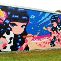 Joohee Park's mural at Pow! Wow! Worcester (Dana Forsythe for WBUR)