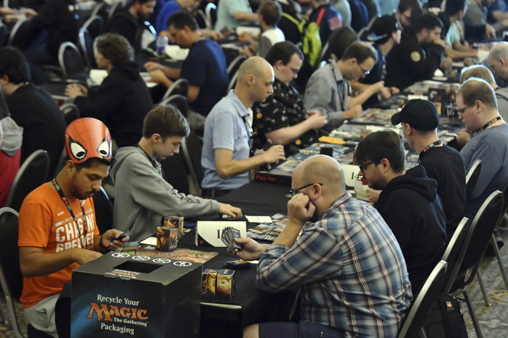 Hundreds of players brought their decks to compete in the Magic: The Gathering Tournament at HASCON the first-ever FANmily™ event from Hasbro, Inc., on Saturday, Sept. 9, 2017 in Providence, R.I. (Josh Reynolds/AP Images for Hasbro, Inc.)
