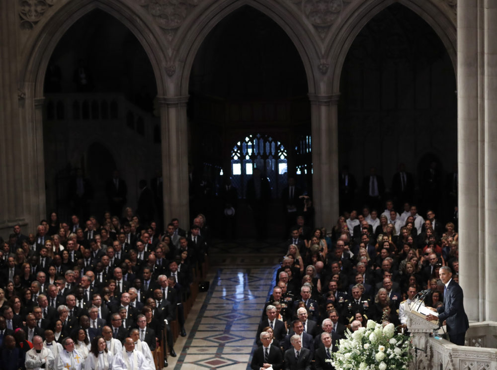 Former President Barack Obama speaks at a memorial service for Sen. John McCain, R-Ariz., at Washington National Cathedral in Washington, Saturday, Sept. 1, 2018. (Pablo Martinez Monsivais/AP)