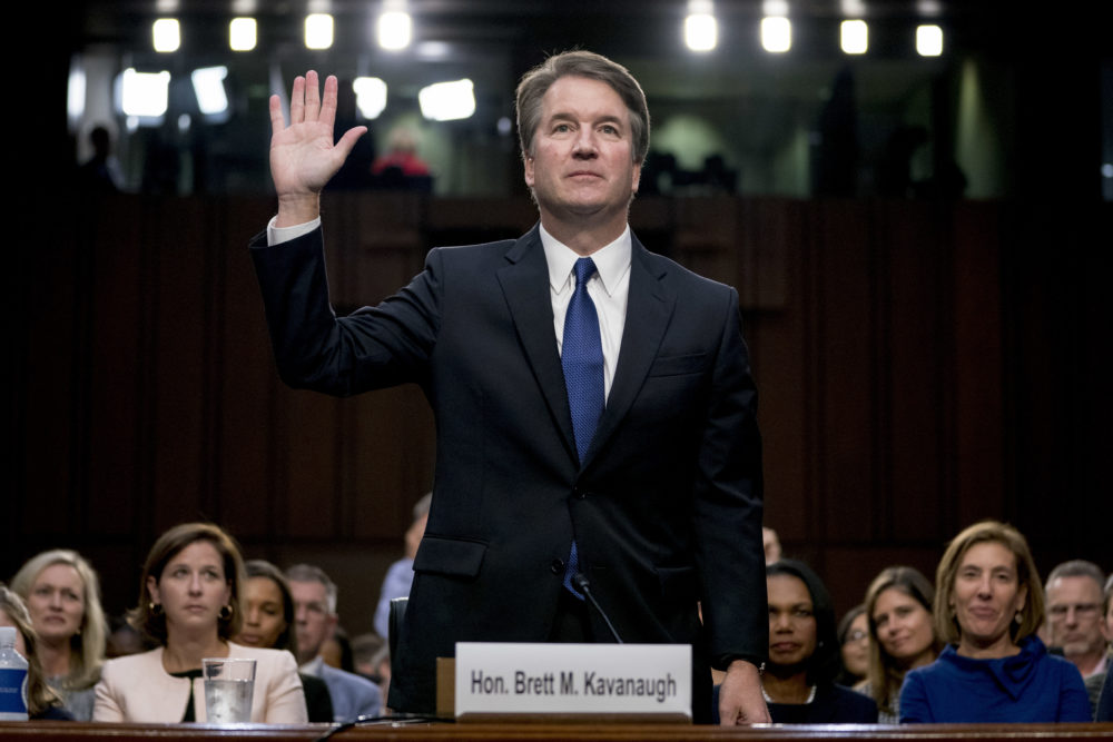 President Donald Trump's Supreme Court nominee Brett Kavanaugh is sworn in before the Senate Judiciary Committee on Capitol Hill in Washington, Tuesday, Sept. 4, 2018, to begin his testimony in his confirmation hearing to replace retired Justice Anthony Kennedy. (Andrew Harnik/AP)