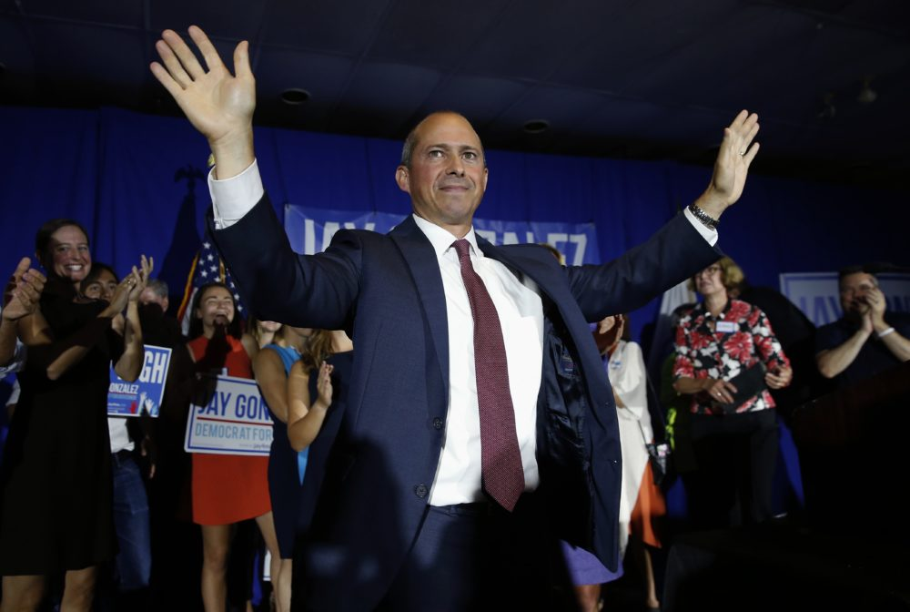 Jay Gonzalez celebrates victory over Bob Massie in the Massachusetts Democratic gubernatorial primary. (Michael Dwyer/AP)