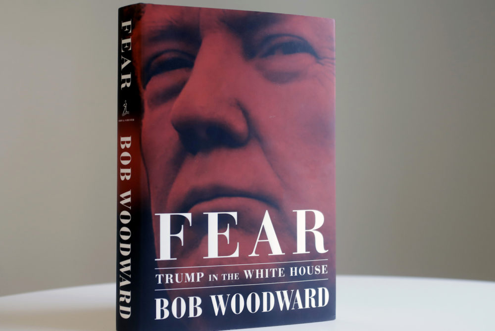 "A copy of Bob Woodward's ""Fear"" is displayed, Wednesday, Sept. 5, 2018 in New York. It's not clear whether President Donald Trump has much to fear from ""Fear"" itself. But the book of that name has set off a yes-no war between author Bob Woodward and the president, using all the assets they can muster. (AP Photo/Mark Lennihan)"