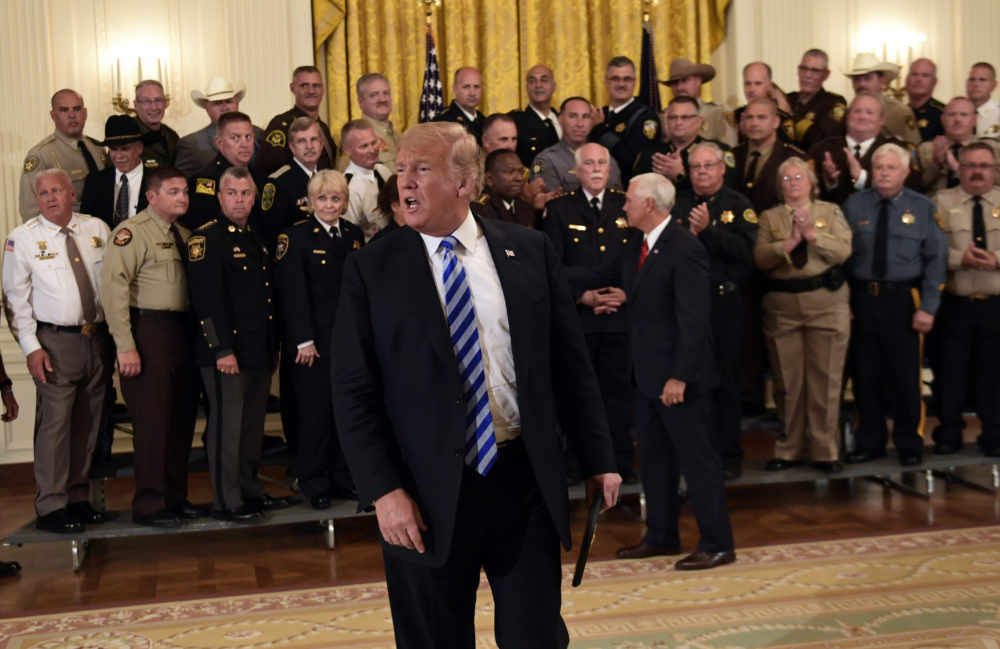 President Donald Trump responds to a reporters question during an event with sheriffs in the East Room of the White House in Washington, Wednesday, Sept. 5, 2018. (Susan Walsh/AP)