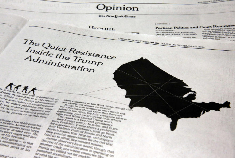 "This photo shows an anonymous opinion piece in The New York Times in New York, Thursday, Sept. 6, 2018. President Donald Trump lashed out against the anonymous senior official who wrote it, claiming to be part of a ""resistance"" working ""from within"" to thwart the commander-in-chief's most dangerous impulses. (Richard Drew/AP)"