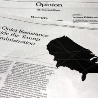 """This photo shows an anonymous opinion piece in The New York Times in New York, Thursday, Sept. 6, 2018. President Donald Trump lashed out against the anonymous senior official who wrote it, claiming to be part of a """"resistance"""" working """"from within"""" to thwart the commander-in-chief's most dangerous impulses. (Richard Drew/AP)"""