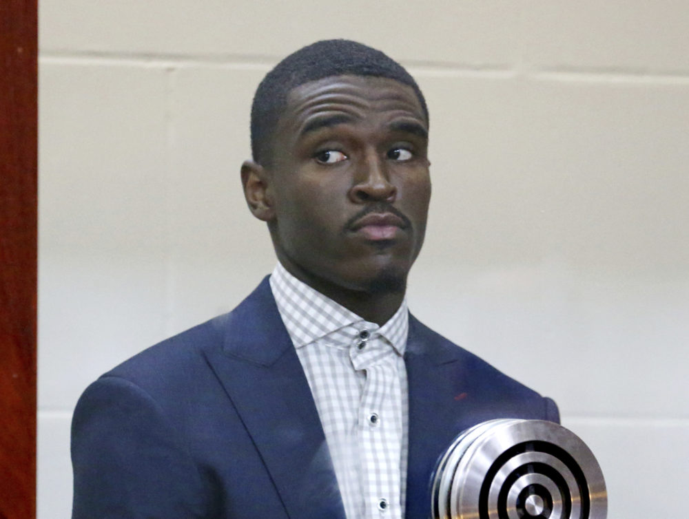 Boston Celtics guard Jabari Bird appears for his arraignment on domestic violence charges at Brighton Municipal Court on Thursday in Boston. (Angela Rowlings /The Boston Herald via AP, Pool)