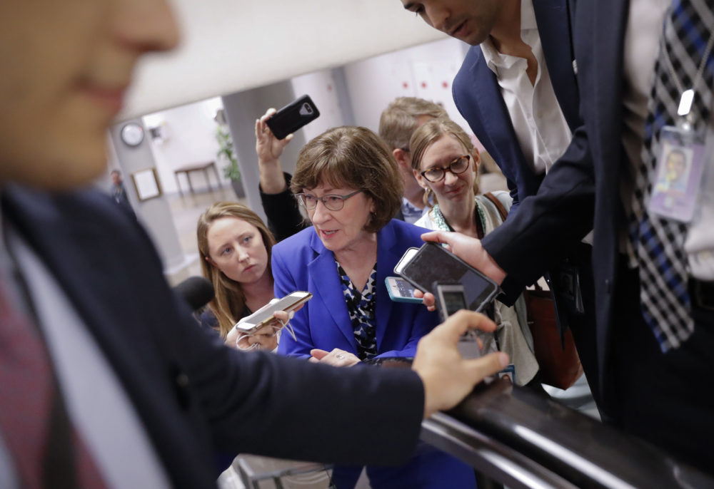 Sen. Susan Collins, R-Maine, speaks to members of the media as she walks to the Senate floor on Capitol Hill in Washington, Monday, Sept. 17, 2018. (Pablo Martinez Monsivais/AP)