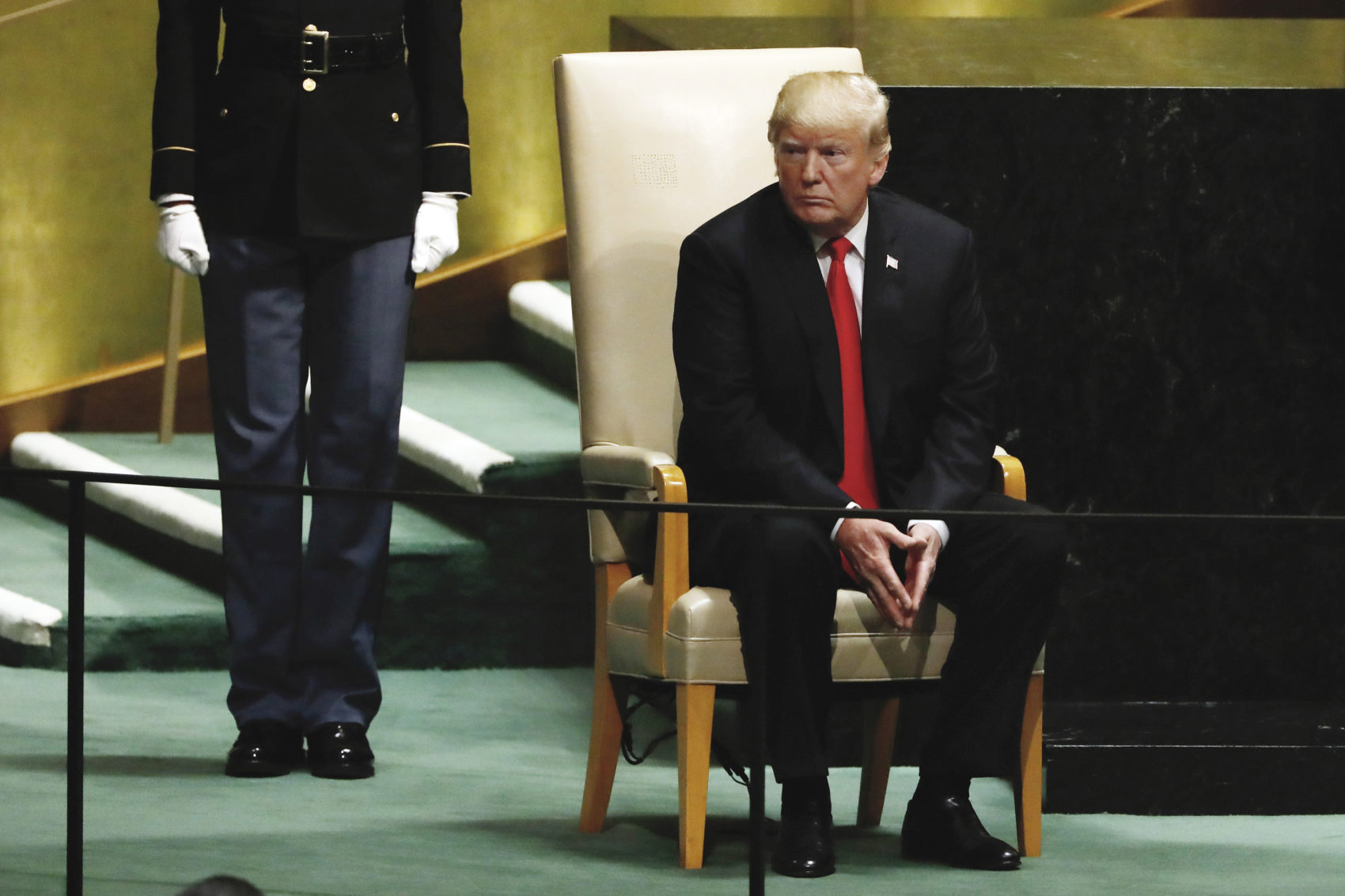 President Donald Trump sits following his address the 73rd session of the United Nations General Assembly, at U.N. headquarters, Tuesday, Sept. 25, 2018. (Richard Drew/AP)