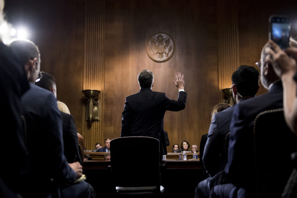 UNITED STATES - SEPTEMBER 27: Judge Brett Kavanaugh is sworn in before testifying during the Senate Judiciary Committee hearing on his nomination be an associate justice of the Supreme Court of the United States, focusing on allegations of sexual assault by Kavanaugh against Christine Blasey Ford in the early 1980s. (Photo By Tom Williams/CQ Roll Call/POOL)