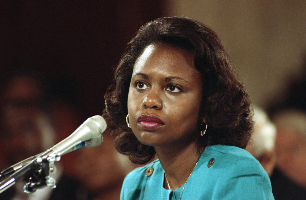 This Oct. 11, 1991 file photo shows University of Oklahoma Law Professor Anita Hill testifying before the Senate Judiciary Committee on Capitol Hill in Washington. (AP)