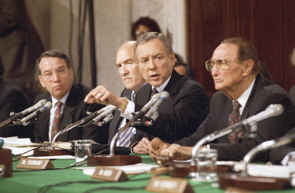 Sen. Orrin Hatch, R-Utah, questions professor Anita Hill on Friday, Oct. 11, 1991 in Washington during a Senate Judiciary Committee hearing on the nomination of Clarence Thomas to the Supreme Court. (John Duricka/AP)