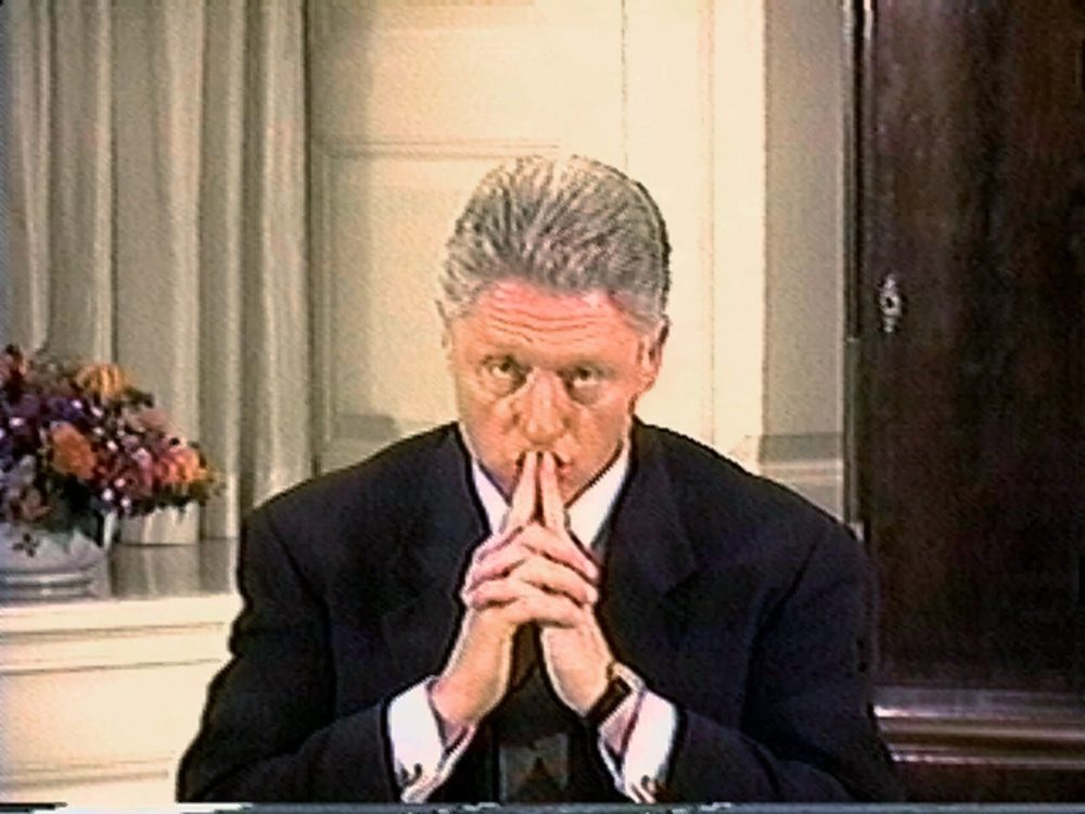 President Clinton is shown in this video image during his grand jury deposition Aug 17, 1998, shown during the House Managers presentation in the Senate impeachment trial of Clinton Saturday, Feb. 6, 1999. (AP)