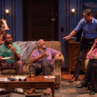 """Not everyone is amused as """"Pops"""" Tyrees Allen, center, holds court with Octavia Chavez-Richmond (Lulu), Stewart Evan Smith (Junior), Lewis D. Wheeler (Lt. Caro)and Maureen Keiller (Detective O'Connor). (Courtesy Nile Scott Studios)"""