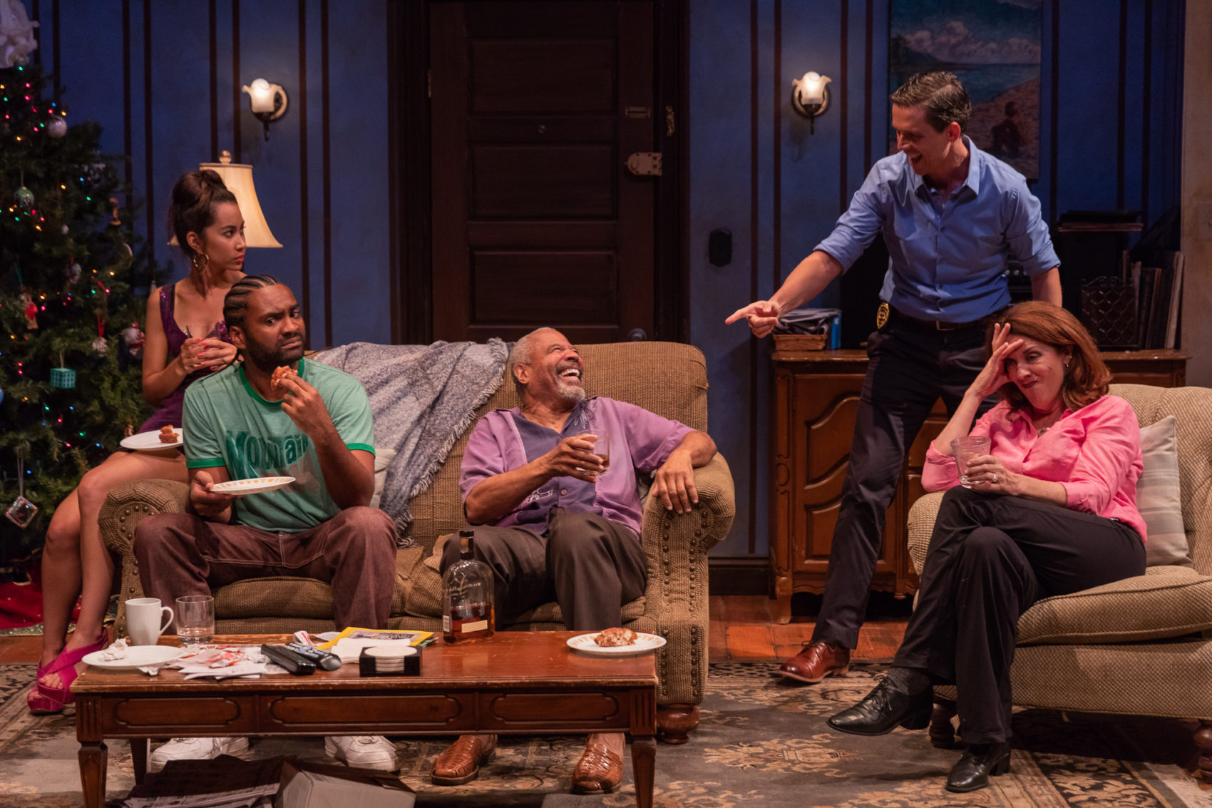 "Not everyone is amused as ""Pops"" Tyrees Allen, center, holds court with Octavia Chavez-Richmond (Lulu), Stewart Evan Smith (Junior), Lewis D. Wheeler (Lt. Caro)and Maureen Keiller (Detective O'Connor). (Courtesy Nile Scott Studios)"