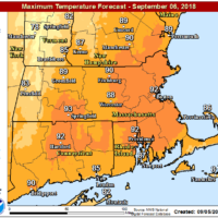 Thursday's highs will exceed 90 in many places. (Courtesy NOAA)