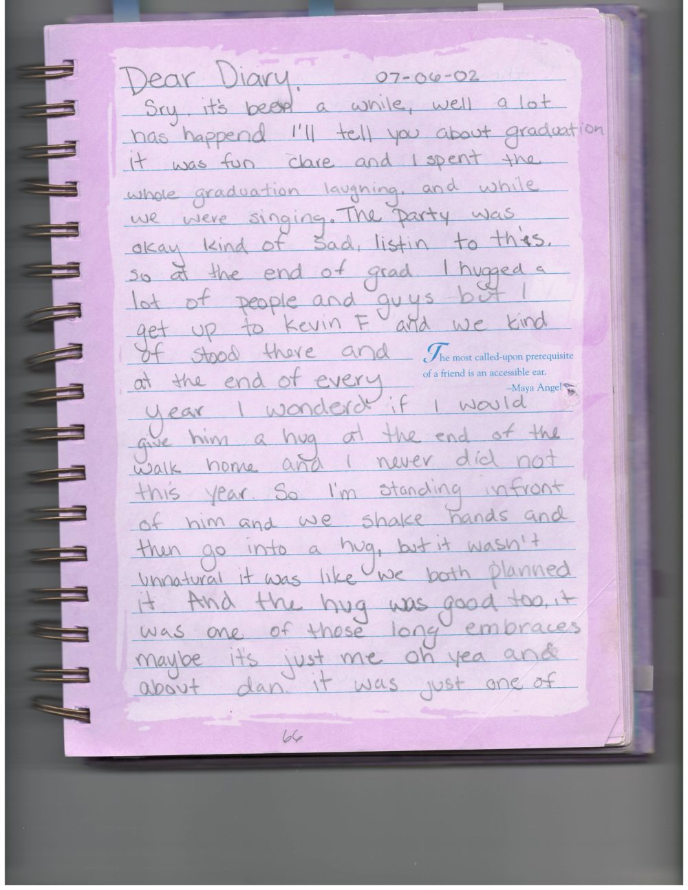 An excerpt from Marina Shifrin's diary from 2002