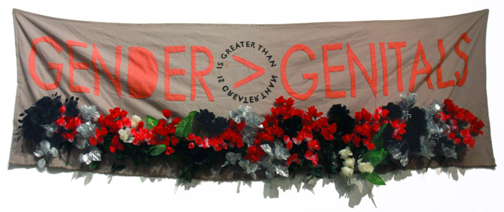 A banner by artist Tuesday Smillie (Courtesy of the artist)