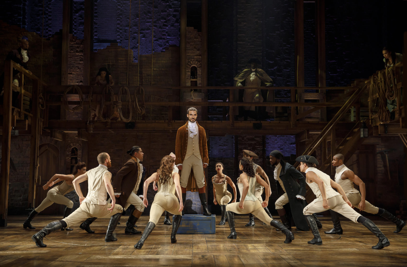 "Austin Scott (the title role) and the cast of ""Hamilton."" (Courtesy Joan Marcus)"