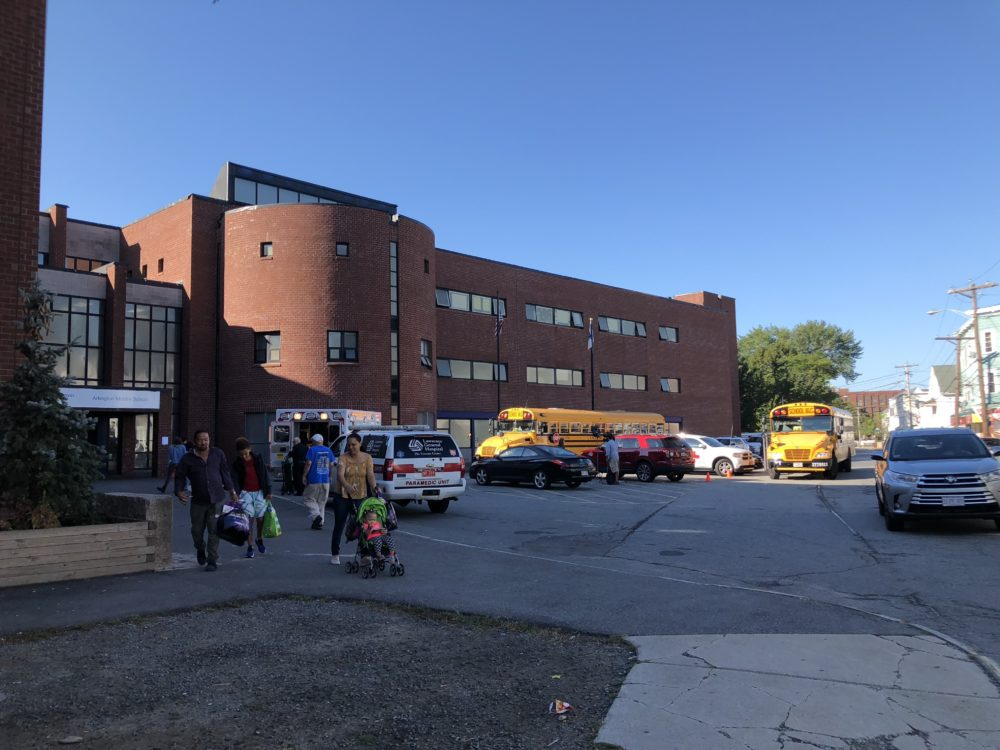 During the three-day lockout after Thursday night's fires, up to 200 Lawrence residents stayed in an emergency shelter inside the city's Arlington Middle School. (Max Larkin/WBUR)