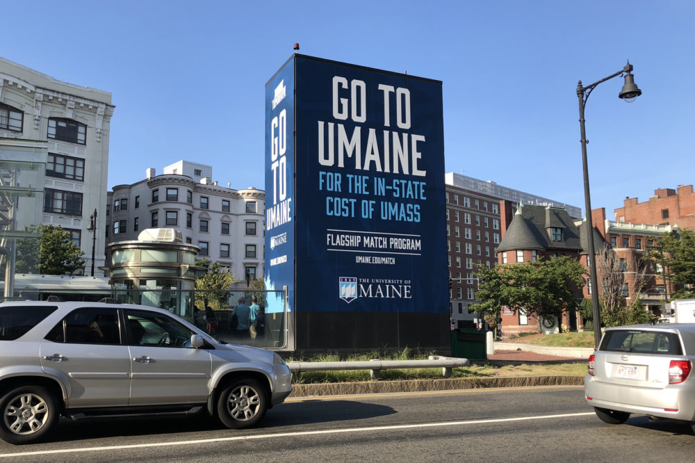 """The UMaine Flagship Match Program """"guarantees academically qualified, first-year students from several states will pay the same tuition and fee rate as their home state's flagship institution."""" (Alex Schroeder/On Point)"""