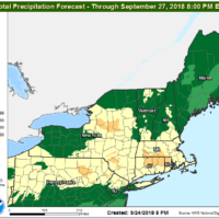 Over an inch of rain is possible today through Wednesday evening from several areas of showers. (Courtesy NOAA)