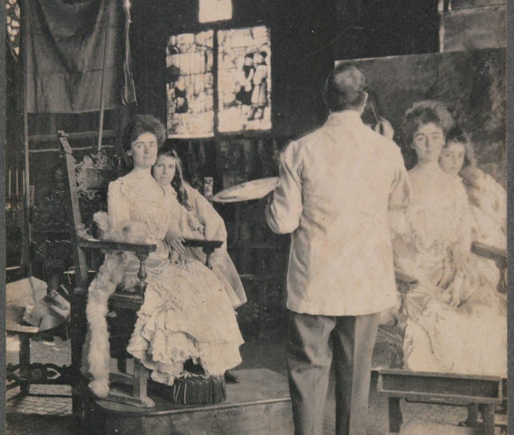 John Templeman Coolidge's photograph of Sargent painting Mrs. Fiske Warren and her daughter in the Gardner Museum's Gothic Room. (Courtesy Isabella Stewart Gardner Museum)