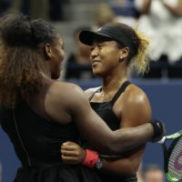 Serena Williams hugs Naomi Osaka, of Japan, after Osaka defeated Williams in the controversial women's final of the U.S. Open tennis tournament last weekend. (AP/Andres Kudacki)