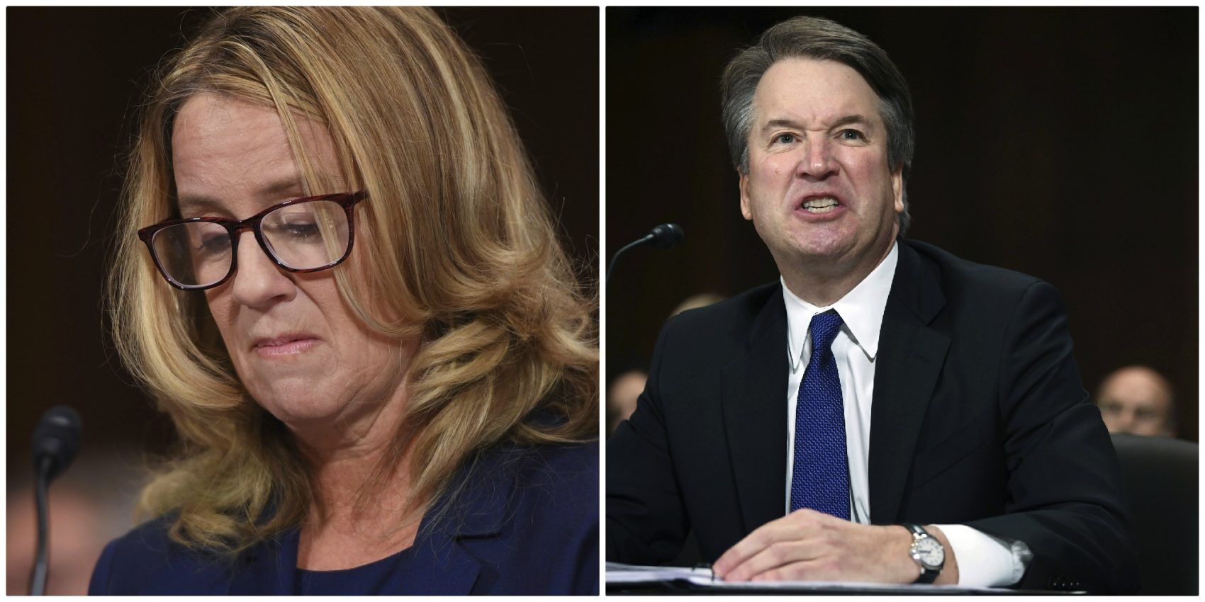 Christine Blasey Ford, left, and Supreme Court nominee Judge Brett Kavanaugh testify before the Senate Judiciary Committee on Capitol Hill in Washington, Thursday, Sept. 27, 2018. (AP)