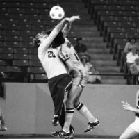 Chicago Sting goalie David Flaschen (20)  collides with Detroit's Danny Vaughn in a 1978 game. The Sting's season was highlighted by games against the Cuban national team in Havana and in Chicago. (AP)