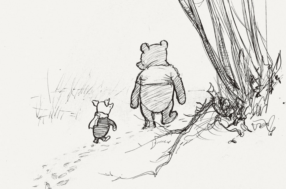 E.H. Shepard's sketch of Pooh and Piglet going hunting, created in 1928. (Courtesy The Shepard Trust, Victoria and Albert Museum, London, Museum of Fine Arts, Boston)