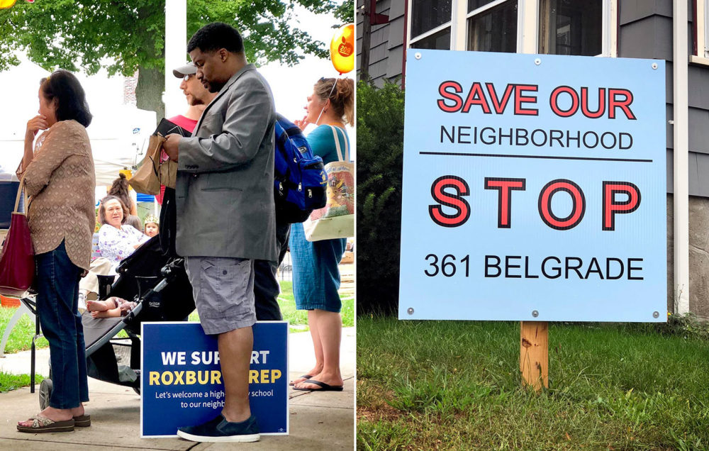 Signs for and against the proposed new Roxbury Prep school (Max Larkin/WBUR)