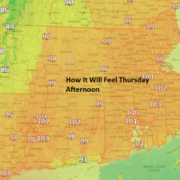 It will feel over 100 Thursday afternoon. (Dave Epstein/WBUR)