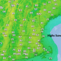 Highs Sunday reach the lower 80s in many spots making for a great September beach day. (Dave Epstein/WBUR)