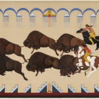 """Buffalo Hunt"" by Velino Shije Herrera (Ma-Pe-Wi) (Courtesy Museum of Fine Arts, Boston)"