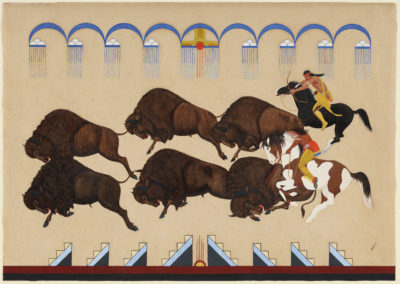 """Buffalo Hunt"" by Velino Shije Herrera (Ma-Pe-Wi) (Courtesy Museum of Fine Arts, Boston)"