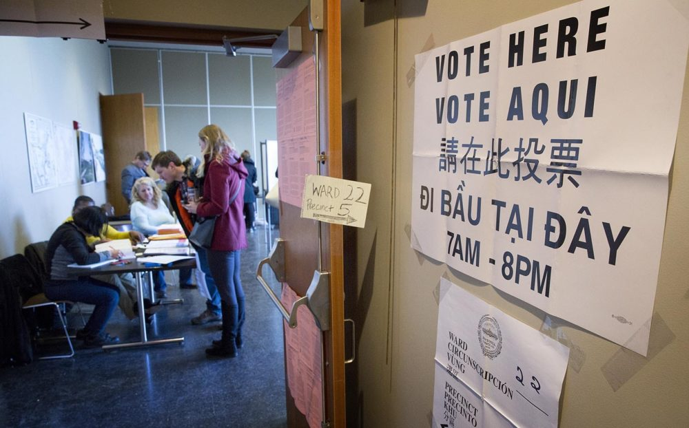 Voters check in at the polling station at the Honan-Allston Branch of the Boston Public Library. (Robin Lubbock/WBUR)