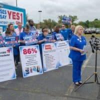 Massachusetts Nurses Association president Donna Kelly-Williams speaks in favor of the ballot question. (Chris Triunfo/SHNS)