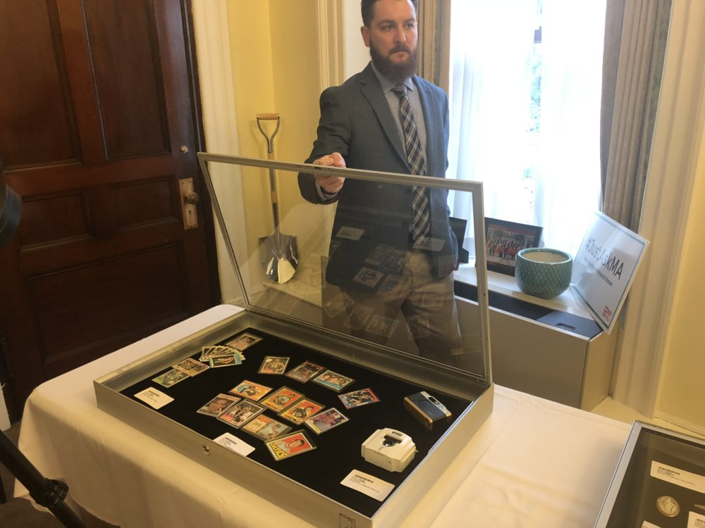 The state treasurer's office on Monday showcased items from the Unclaimed Property Division that will soon be auctioned on eBay. (Chris Triunfo/SHNS)