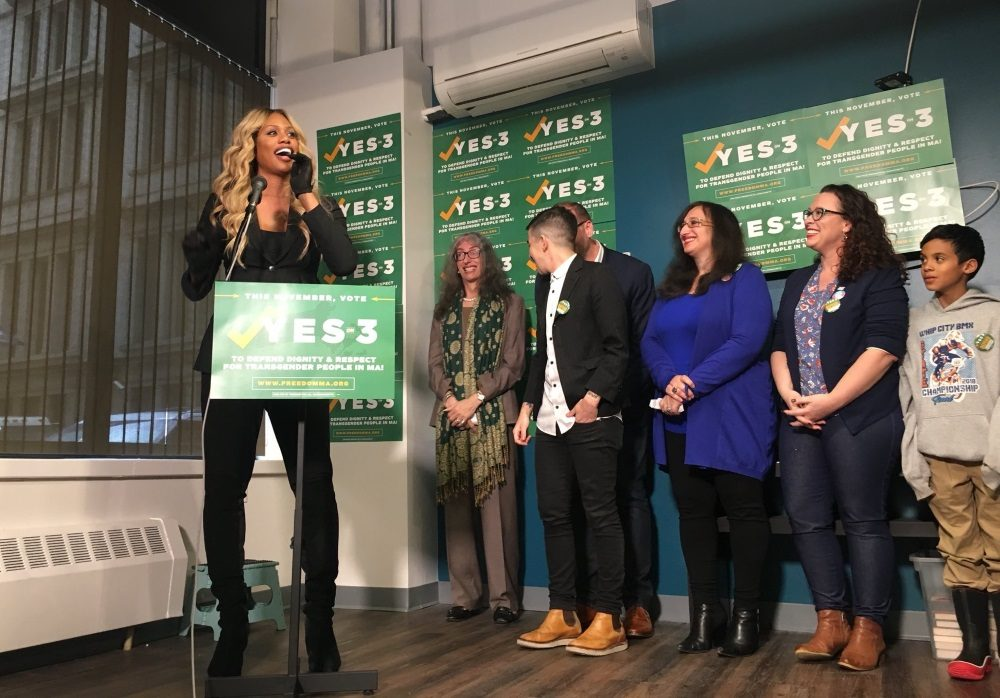 "Speaking at a Yes on 3 event in downtown Boston Wednesday, actress Laverne Cox offered a message to transgender people, telling them, ""We are each here for a divine purpose."" (Katie Lannan/SHNS)"