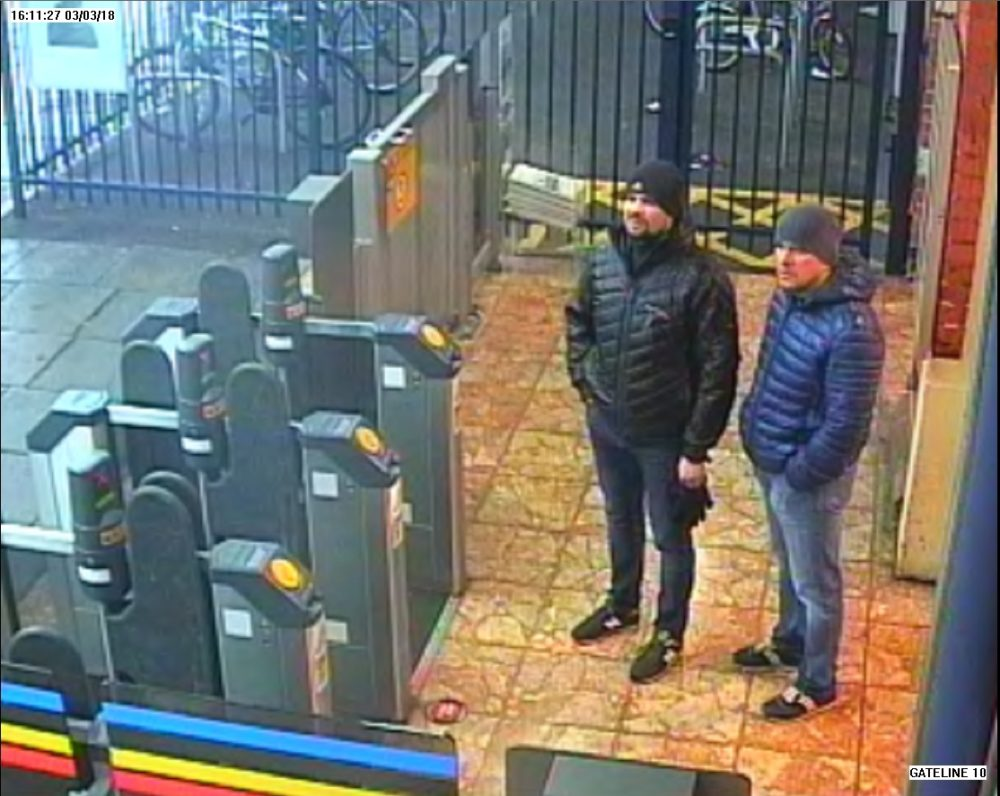 In this handout photo released on Sept. 5, 2018, by the Metropolitan Police, Salisbury Novichok poisoning suspects Alexander Petrov and Ruslan Boshirov are shown on CCTV at Salisbury train station March 3, 2018, in London. (Metropolitan Police via Getty Images)