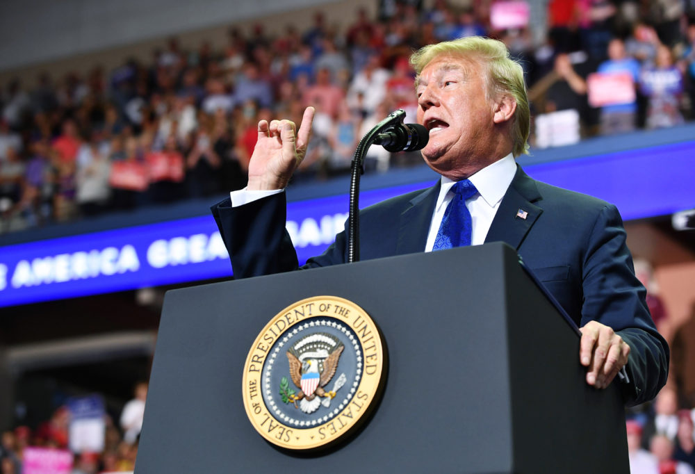 President Trump speaks during a rally at Landers Center in Southaven, Miss., on Oct.2, 2018. (Mandel Ngan/AFP/Getty Images)