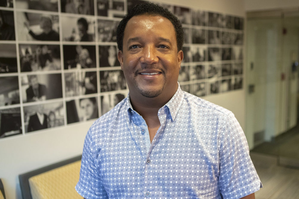 Red Sox legend Pedro Martinez at WBUR (Jesse Costa/WBUR)