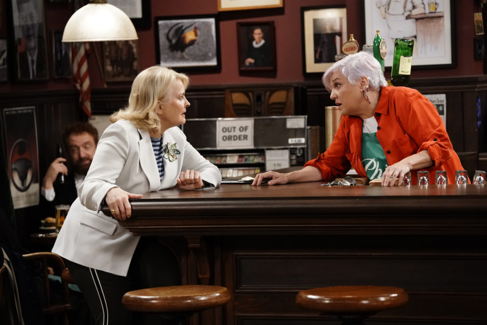 "This image released by CBS shows Candice Bergen, left, and Tyne Daly in a scene from ""Murphy Brown."" (John Paul Filo/CBS via AP)"
