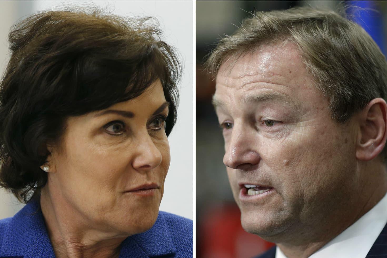 Nevada Democratic U.S. Rep. Jacky Rosen (left) and GOP Sen. Dean Heller. (AP Photos)
